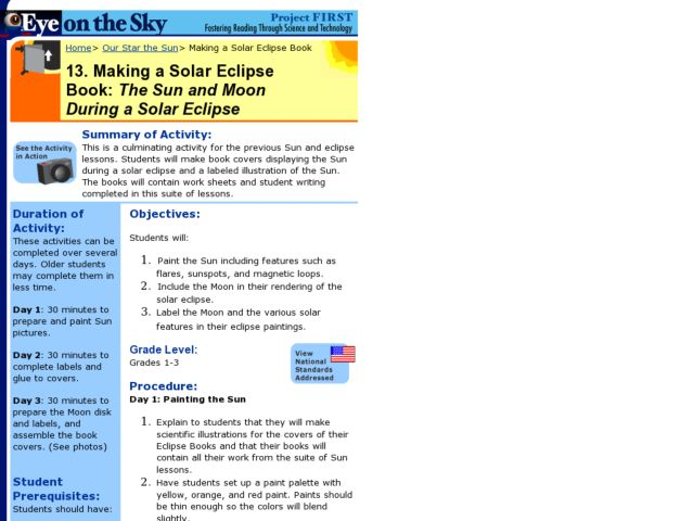 Making a Solar Eclipse Book:  The Sun and Moon During a Solar Eclipse Lesson Plan