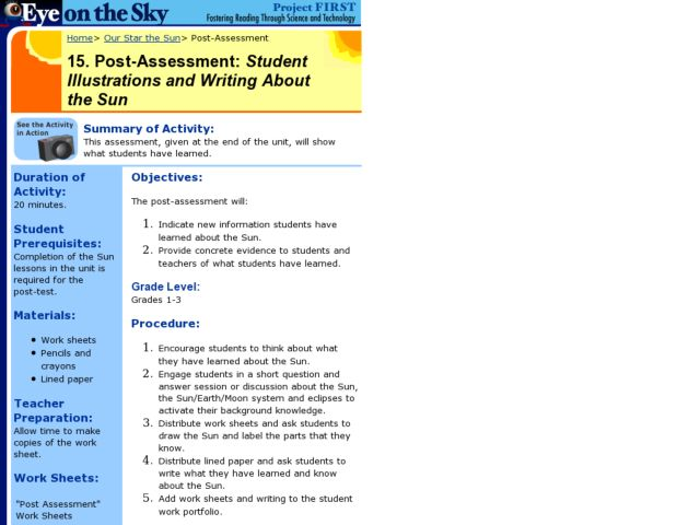 Post Assessment:  Student Illustrations and Writing About the Sun Lesson Plan