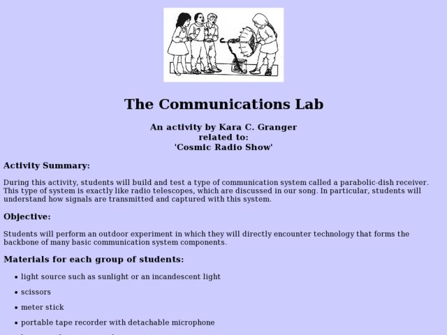 The Communications Lab Lesson Plan
