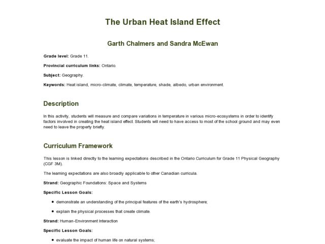 The Urban Heat Island Effect - Geography Lesson Plan