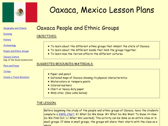 Oaxaca People and Ethnic Groups Lesson Plan