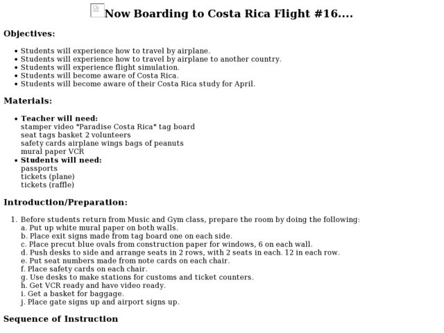 Now Boarding to Costa Rica Flight #16.... Lesson Plan