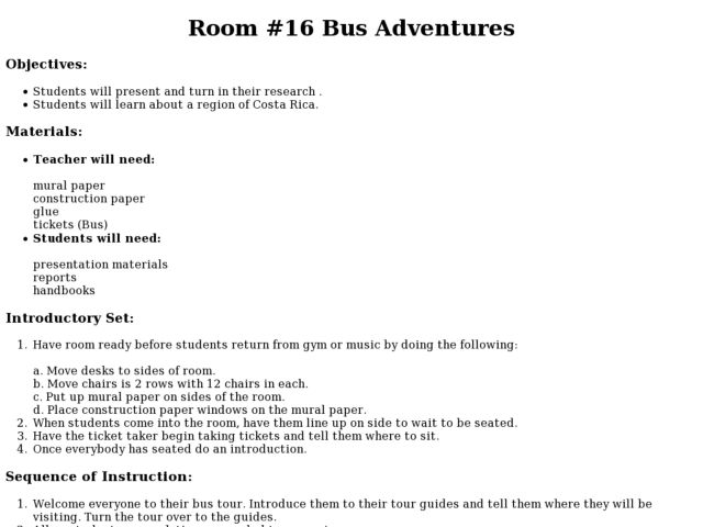 Room 16 Bus Adventures Lesson Plan
