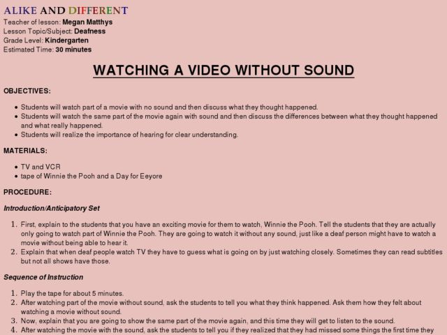 Watching a Video Without Sound Lesson Plan
