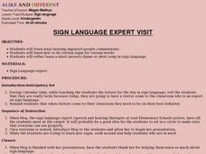 Sign Language Expert Visit Lesson Plan