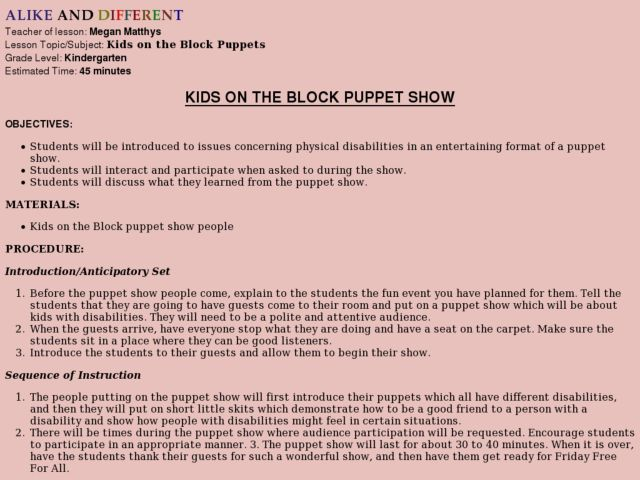 KIDS ON THE BLOCK PUPPET SHOW Lesson Plan