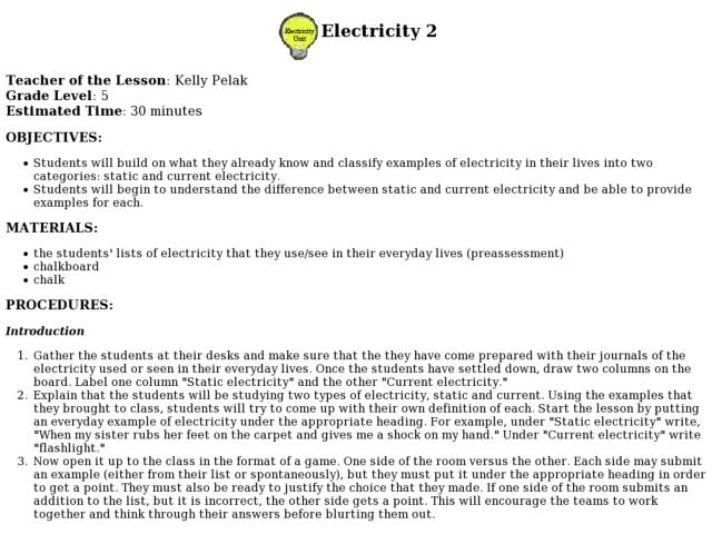 Electricity 2 Lesson Plan