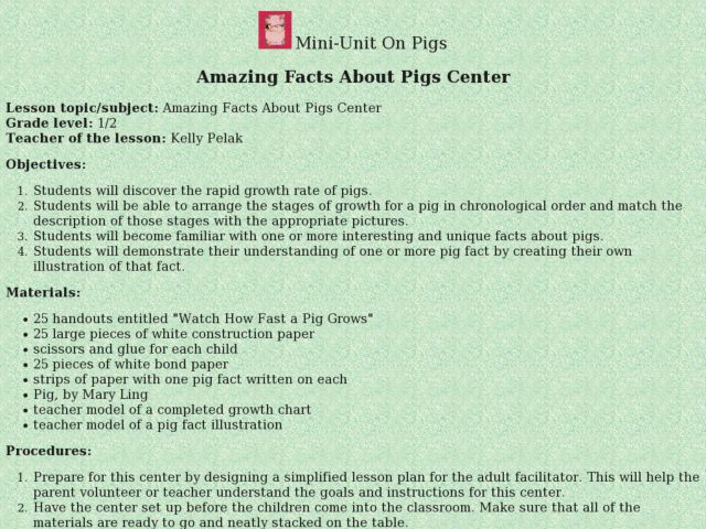 AMAZING FACTS ABOUT PIGS CENTER Lesson Plan