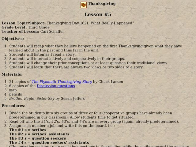 Thanksgiving Day 1621; What Really Happened? Lesson Plan