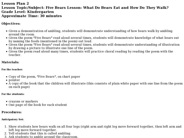 WHAT DO BEARS EAT AND HOW DO THEY WALK? Lesson Plan