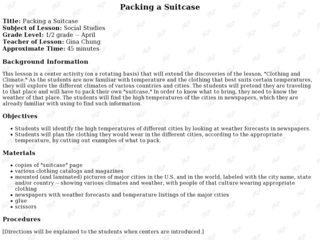 Packing a Suitcase Lesson Plan