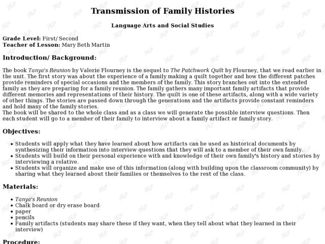 Transmission of Family Histories Lesson Plan