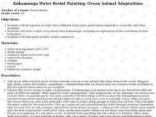 Kukamunga Water Resist Painting, Ocean Animal Adaptations Lesson Plan