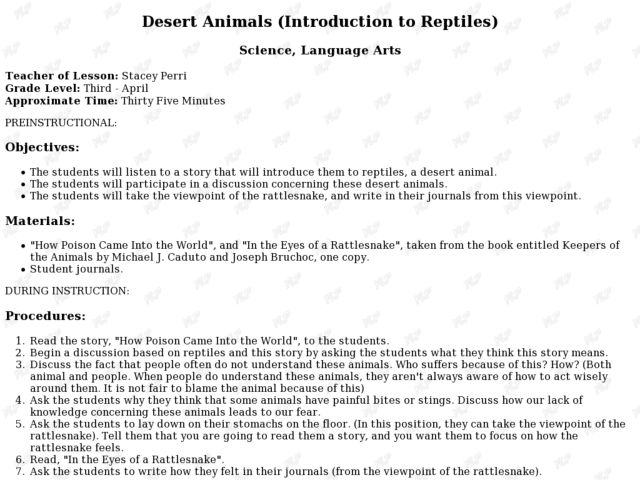 Desert Animals (Introduction to Reptiles) Lesson Plan