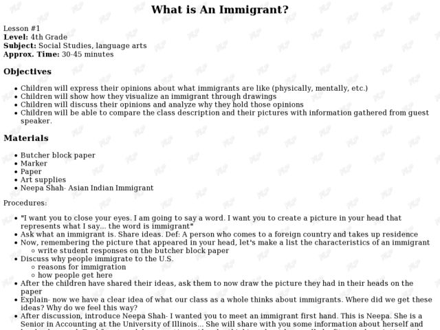 What is An Immigrant? Lesson Plan