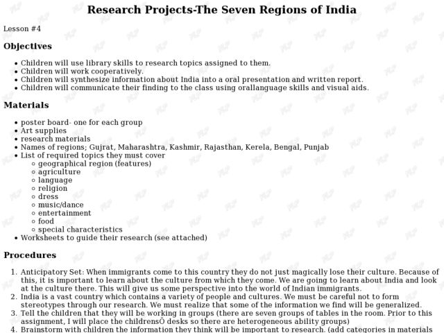 Research Projects-The Seven Regions of India Lesson Plan