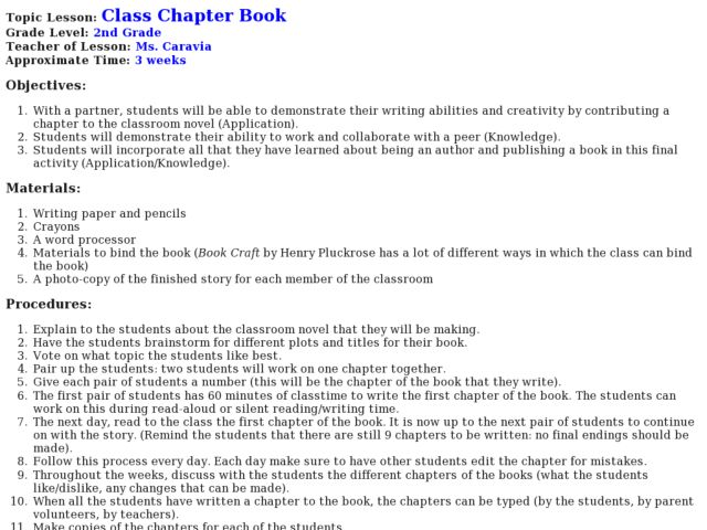 Class Chapter Book Lesson Plan