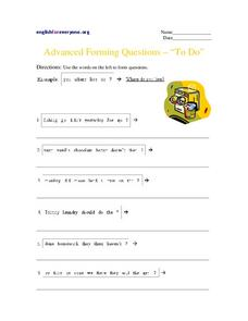 "Advanced Forming Questions - ""To Do"" Worksheet"
