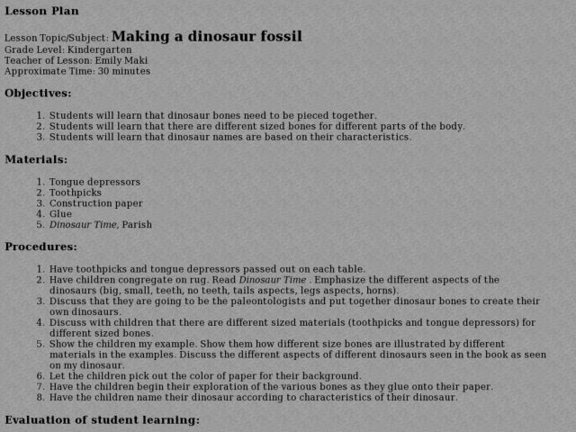 Making A Dinosaur Fossil Lesson Plan