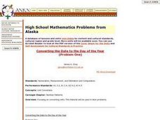 High School Mathematics Problems from Alaska: Converting the Date to the Day of the Year Lesson Plan