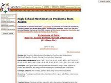 High School Mathematics Problems from Alaska: Extensions of Data:  Barrow, Alaska Sunrise/Sunset Information Lesson Plan