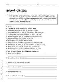 Adverb Clauses Worksheet