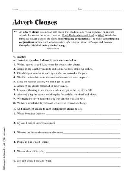 Subordinating Conjunctions Lesson Plans Worksheets