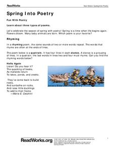 Spring into Poetry Worksheet