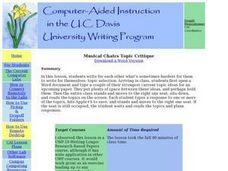 Musical Chairs Topic Critique Lesson Plan