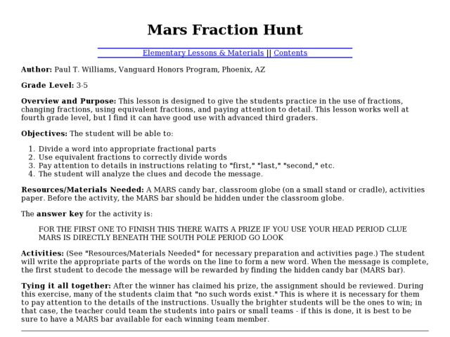 Mars Fraction Hunt Lesson Plan