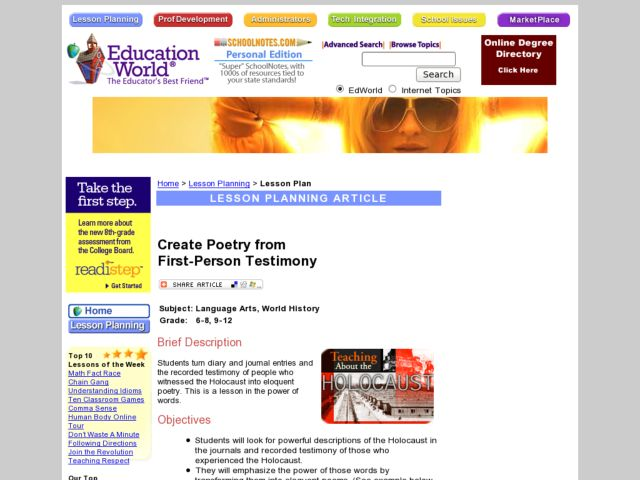 Testimony: A Lesson in Creating Poetry Lesson Plan