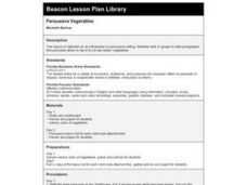 Persuasive Vegetables Lesson Plan