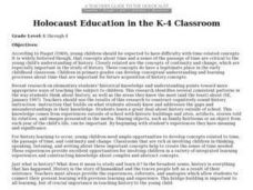 Holocaust Education in the K-4 Classroom Lesson Plan