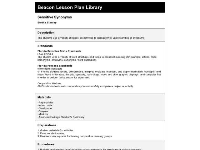 Sensitive Synonyms Lesson Plan