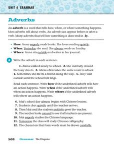 Adverbs Worksheet