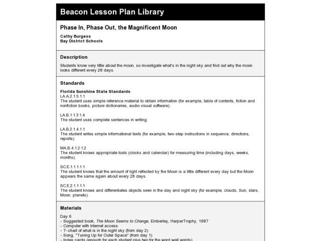 Phase In, Phase Out, the Magnificent Moon Lesson Plan
