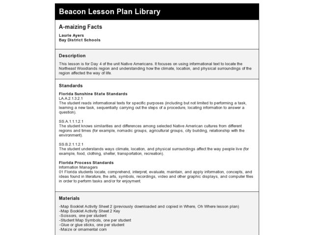 A-maizing Facts Lesson Plan