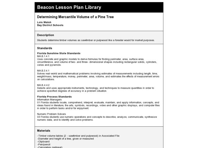 Determining Mercantile Volume of a Pine Tree Lesson Plan
