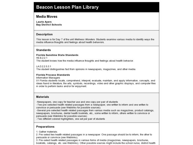 Media Moves Lesson Plan