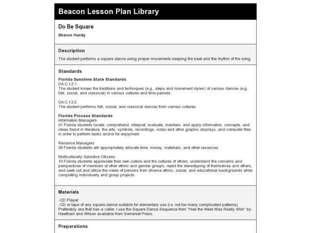 Do Be Square Lesson Plan