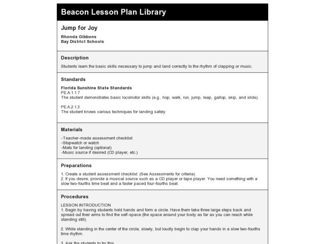 Jump for Joy Lesson Plan