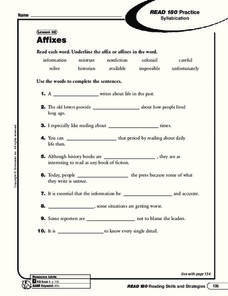 Affixes Worksheet