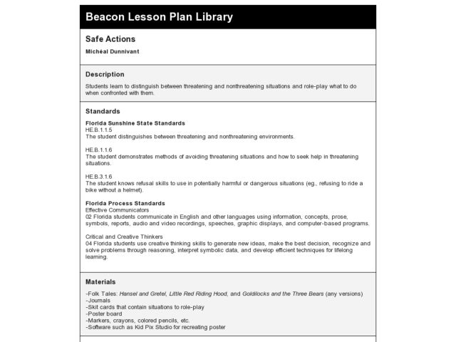 Safe Actions Lesson Plan