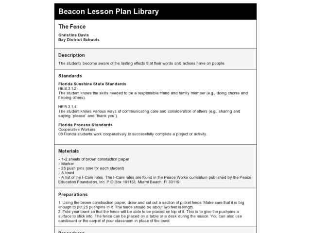 The Fence Lesson Plan