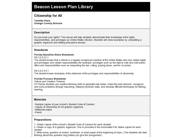 CITIZENSHIP FOR ALL Lesson Plan