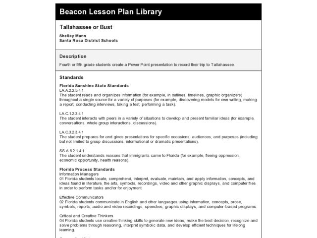 Tallahassee or Bust Lesson Plan