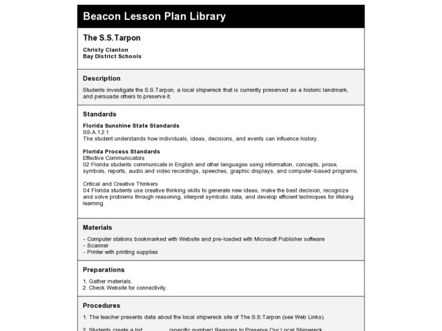 The S.S.Tarpon Lesson Plan