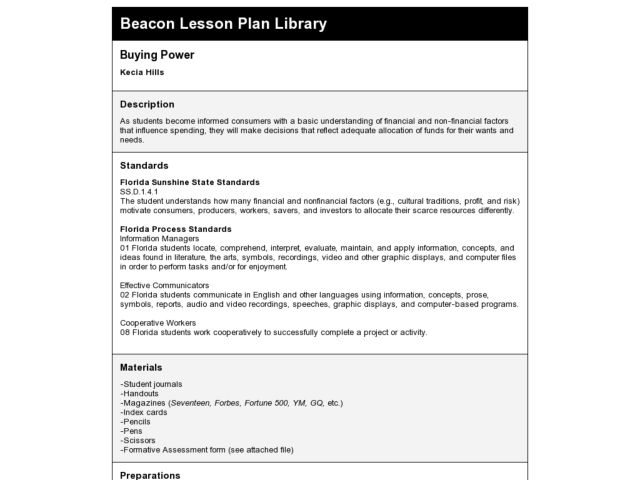 Buying Power Lesson Plan