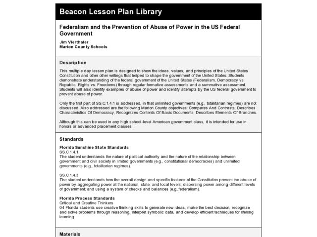 Federalism and the Prevention of Abuse of Power in the US Federal Government Lesson Plan