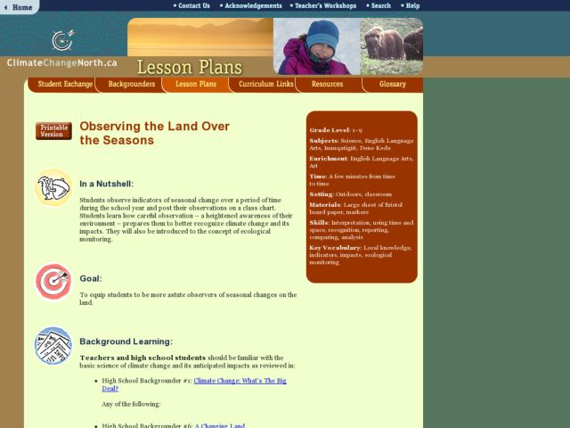 Observing the Land Over the Seasons Lesson Plan